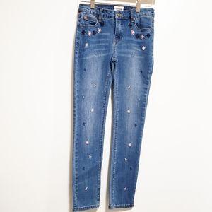 HUDSON JEANS Girl Floral Embroidered Skinny Jeans